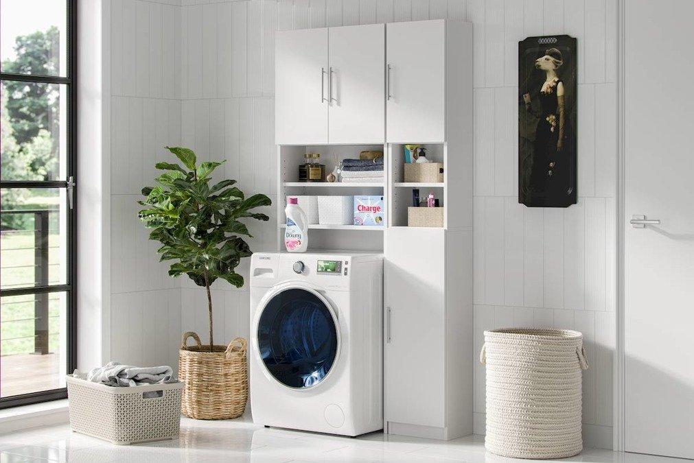 Regał słupek łazienkowy nad pralkę Ariel w kolorze białym